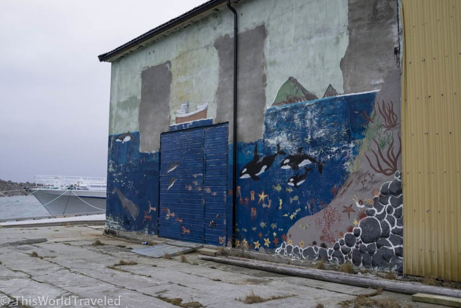 Mural of whales on the wall in Andenes