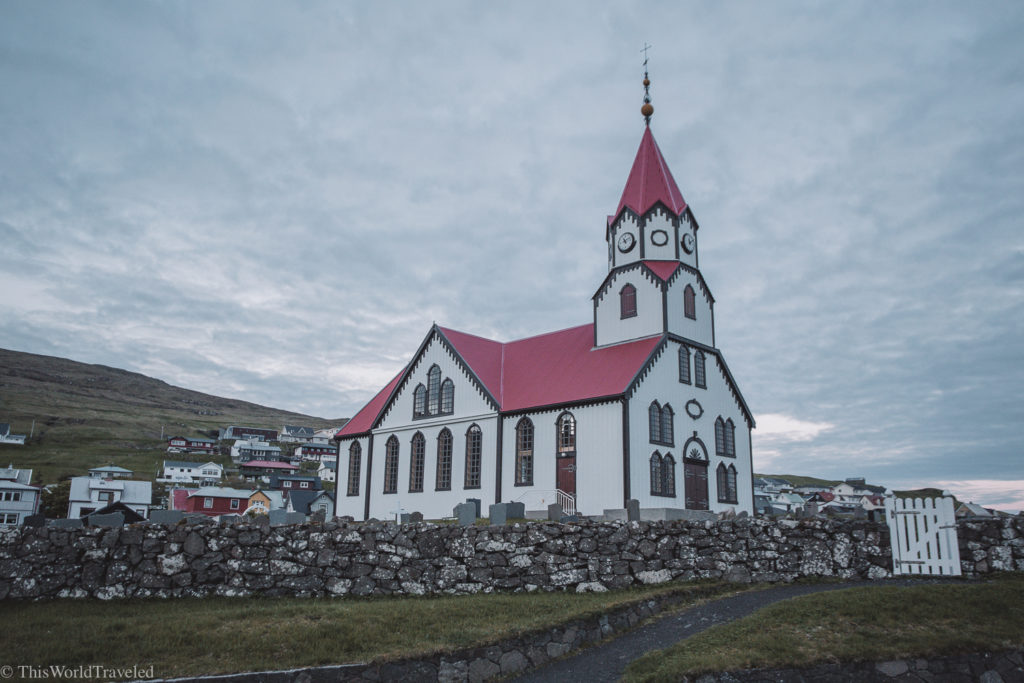 The famous red roofed church in the small village of Sandavágur
