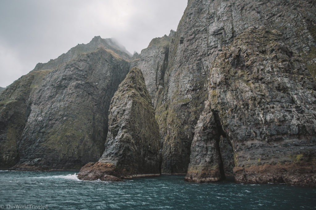 The Vestmanna bird cliffs in the Faroe Islands are only reachable by boat.