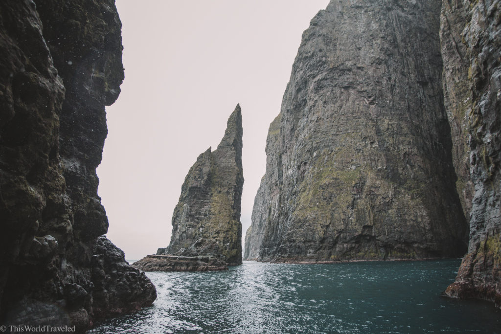 The sky high cliffs at Vestmanna seemingly rise out from the sea.