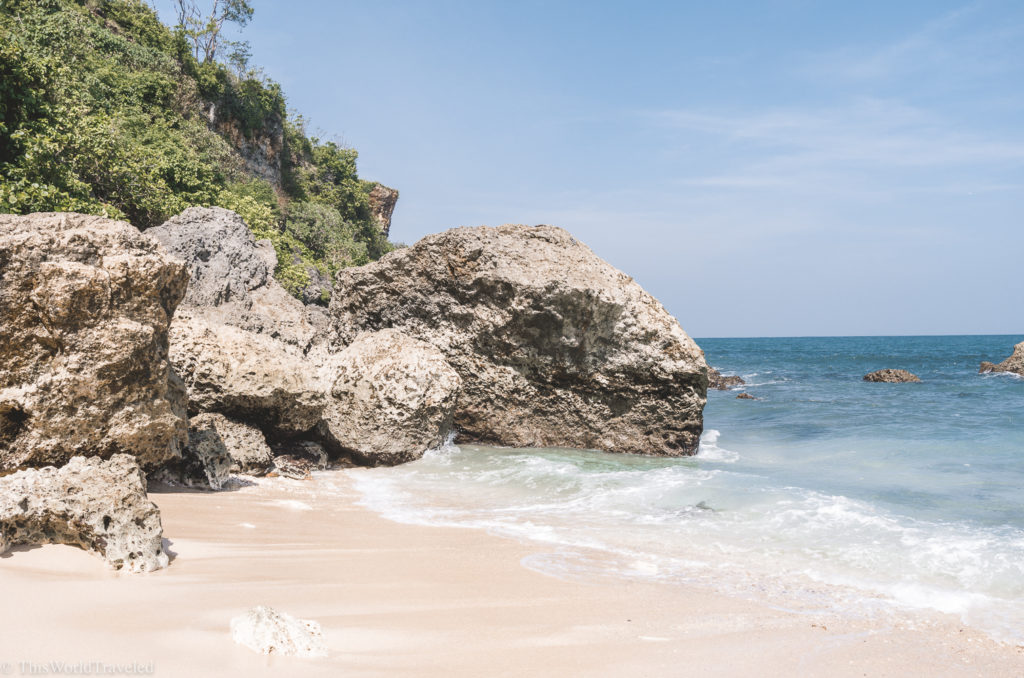 The lovely secret beach is just a short downhill walk from the EcoLodge bungalows in Bali! Be sure to head down to the beach to enjoy some sun or watch the locals fish off the rocks!