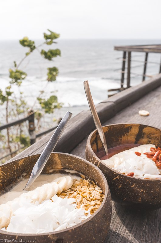 The delicious smoothie bowls at Nalu Bowls are served in a fresh coconut bowl!