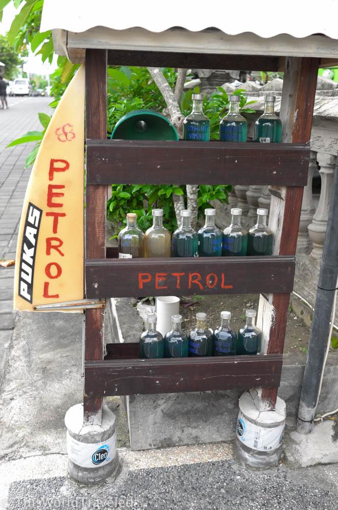 Petrol for sale on Nusa Penida Island near Bali