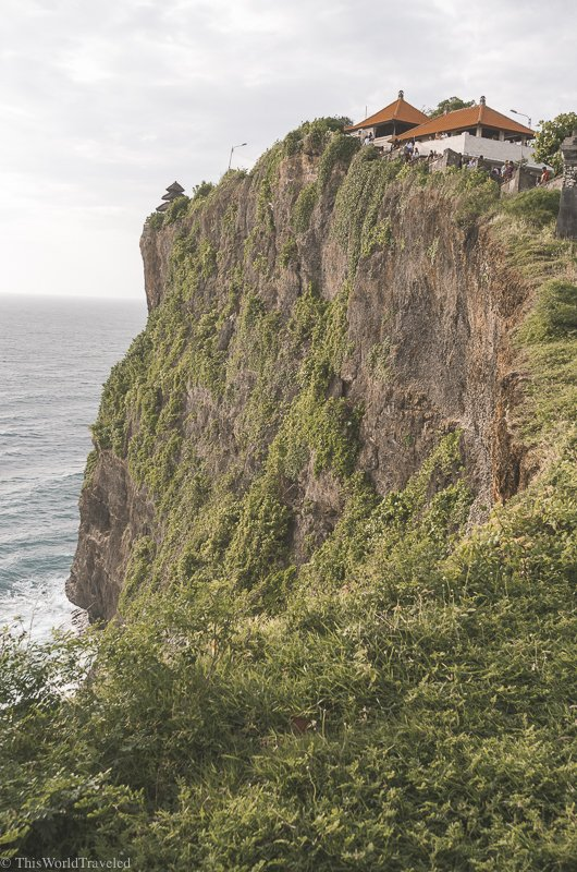The Uluwatu Temple is perched at the top of the hill. Be sure to cover your shoulders and thighs when walking around the temple complex.