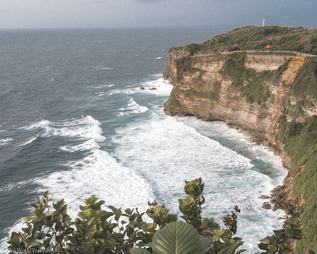 The Uluwatu Temple is located on the top of a cliff with gorgeous views. It is the perfect place to watch the sunset in the evening.