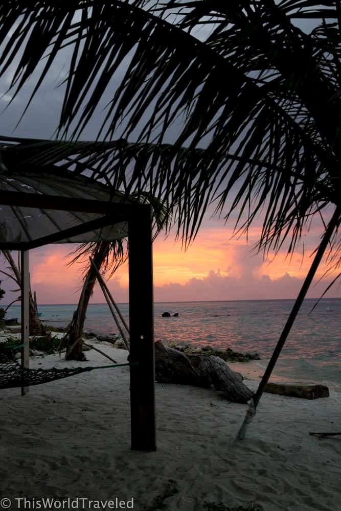 Sunset from one of the best spots to relax on Mahibadhoo