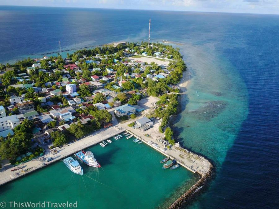 Drone photo of Mahibadhoo, a local island in the Maldives that you can visit on a budget