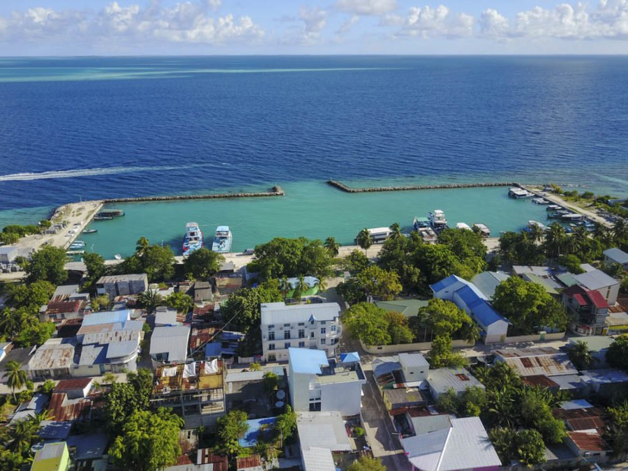Drone shot of the island of Mahibadhoo in the Maldives
