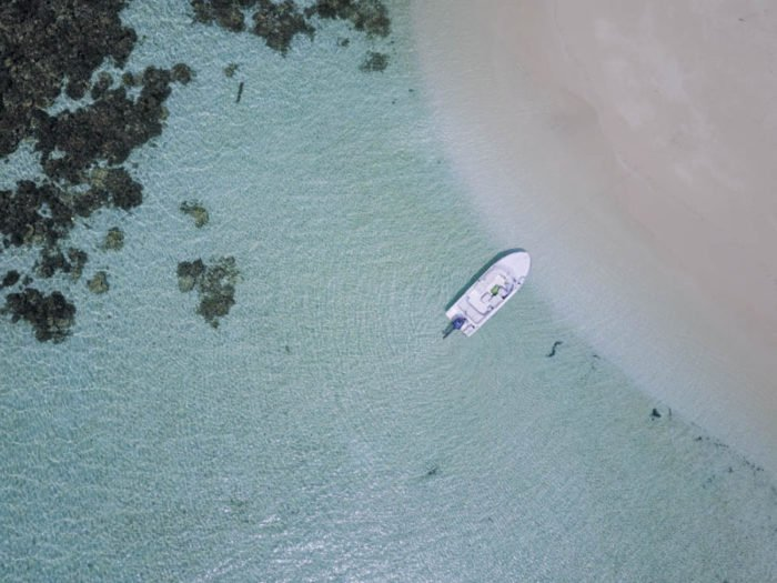 Drone footage of a private island in the Maldives