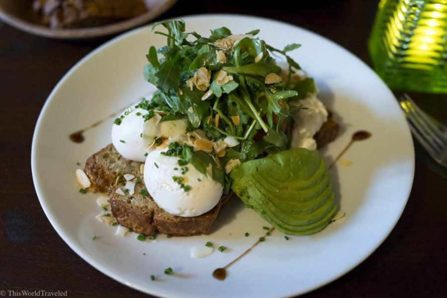 A delicious breakfast of eggs and avocado at Greenwoods cafe in Amsterdam