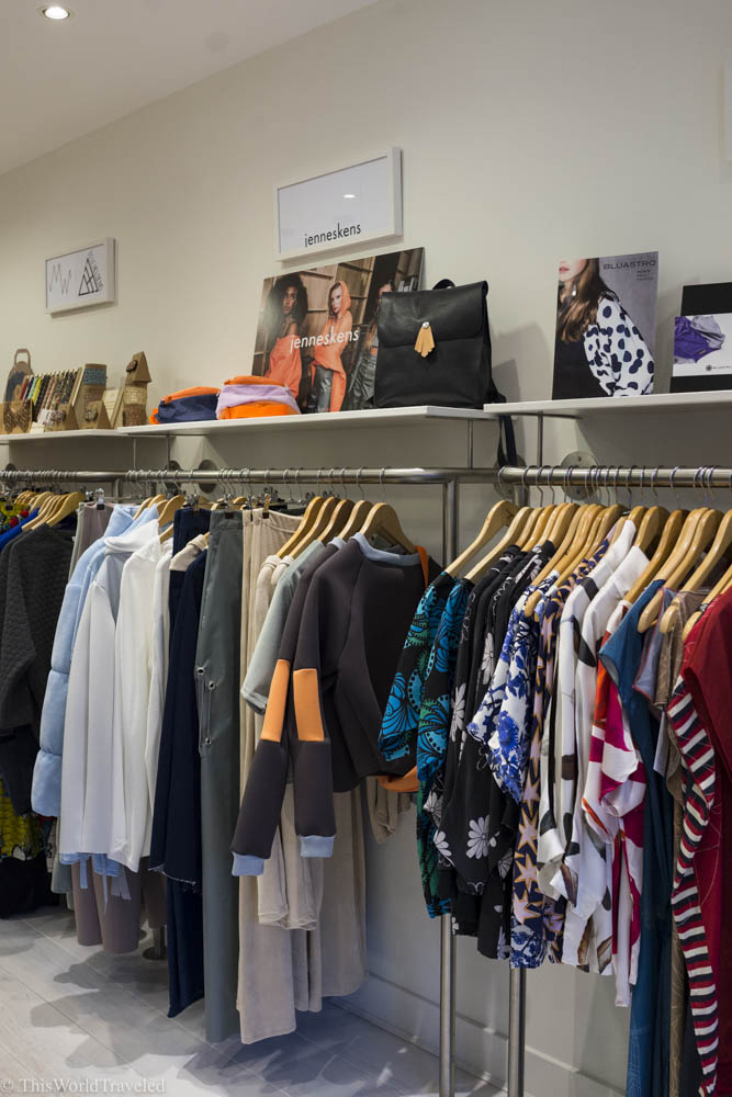 There are many different styles and clothing apparel at Young Designers United in Amsterdam