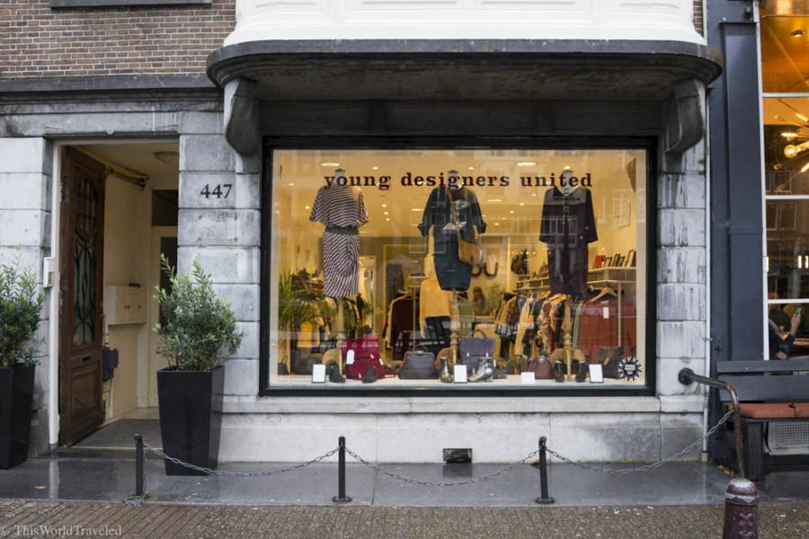 Young Designers United is a shop in Amsterdam that showcases and sells clothing from different local designers