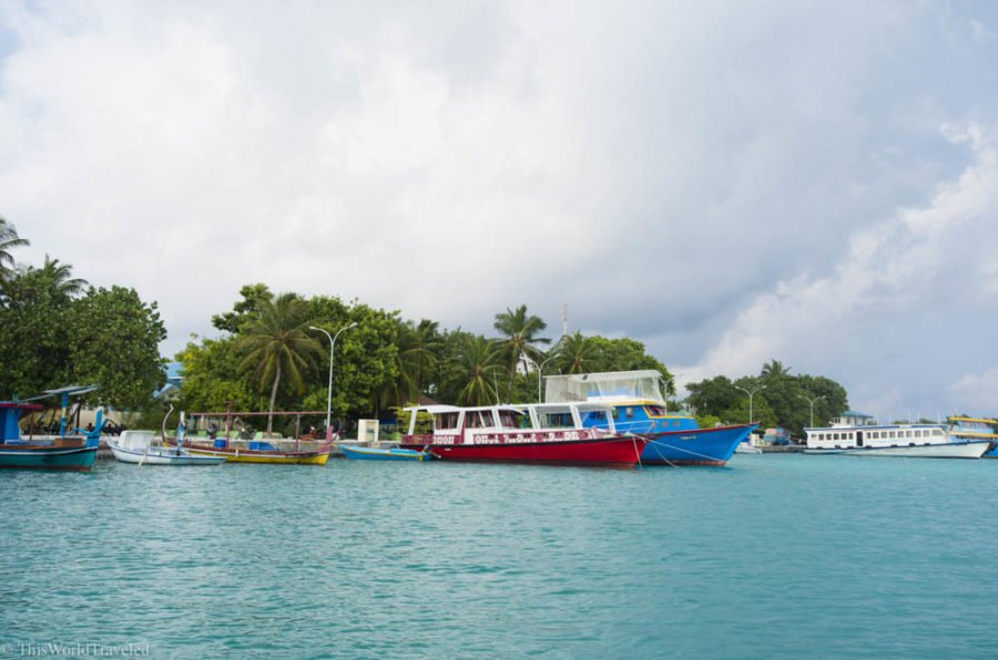 The harbor at Mahibadhoo, one of the local islands in the Maldives that you can visit on a budget