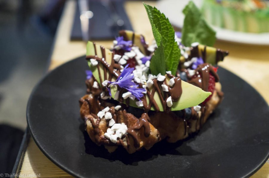 Avocado waffles served at The Avocado Show Cafe in Amsterdam