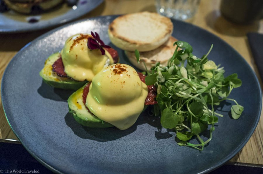A breakfast of eggs benedict at The Avocado Show in Amsterdam