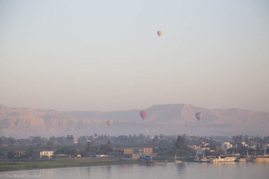 Hot air balloons over the valley of the kings in Luxor. An exciting adventure when you travel Egypt