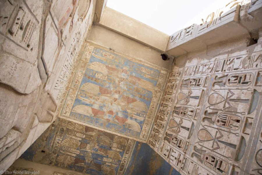 If you travel egypt visit the Medinet Habu Temple to see the detailed hieroglyphics