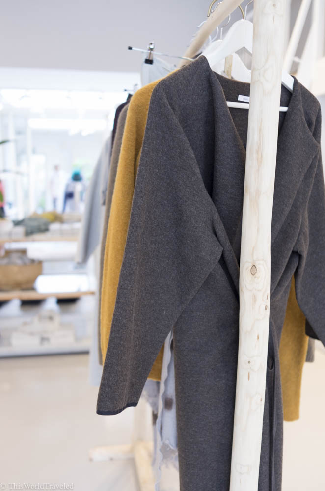 The soft sweaters and neutral palette at Sukha in Amsterdam