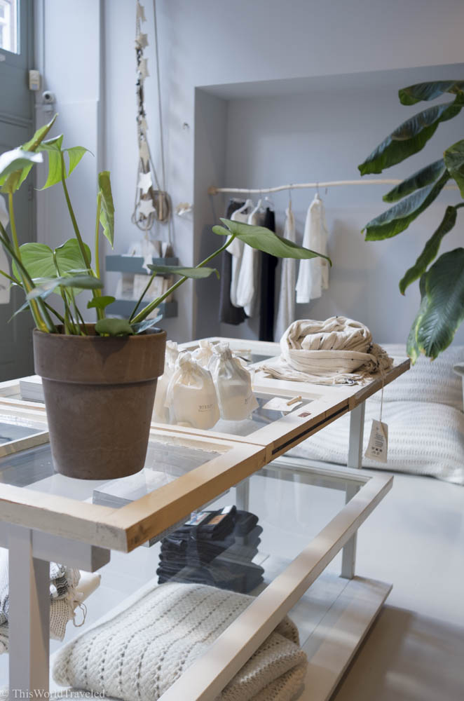 The entire shop of Sukha is a neutral color palette. The shop is one of the best boutique shops in Amsterdam.