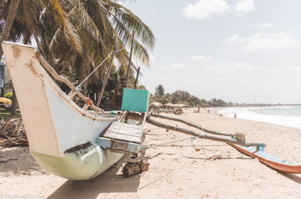 The traditional fishing boats in Sri Lanka can be seen all along the shore at Arugam Bay