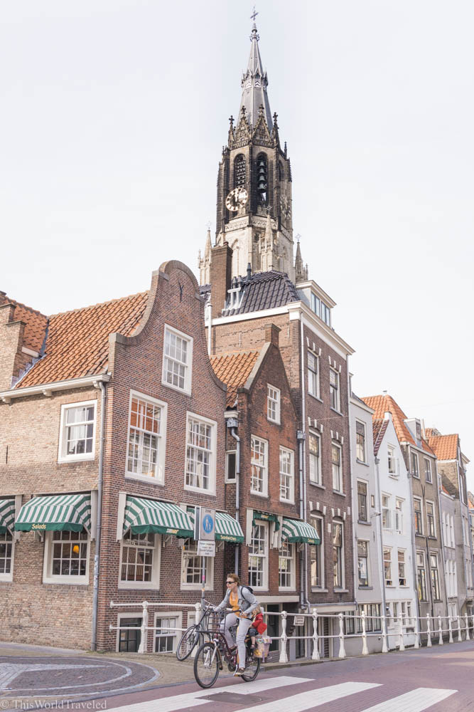 One of the church bell towers and distinct architecture of Delft in the Netherlands