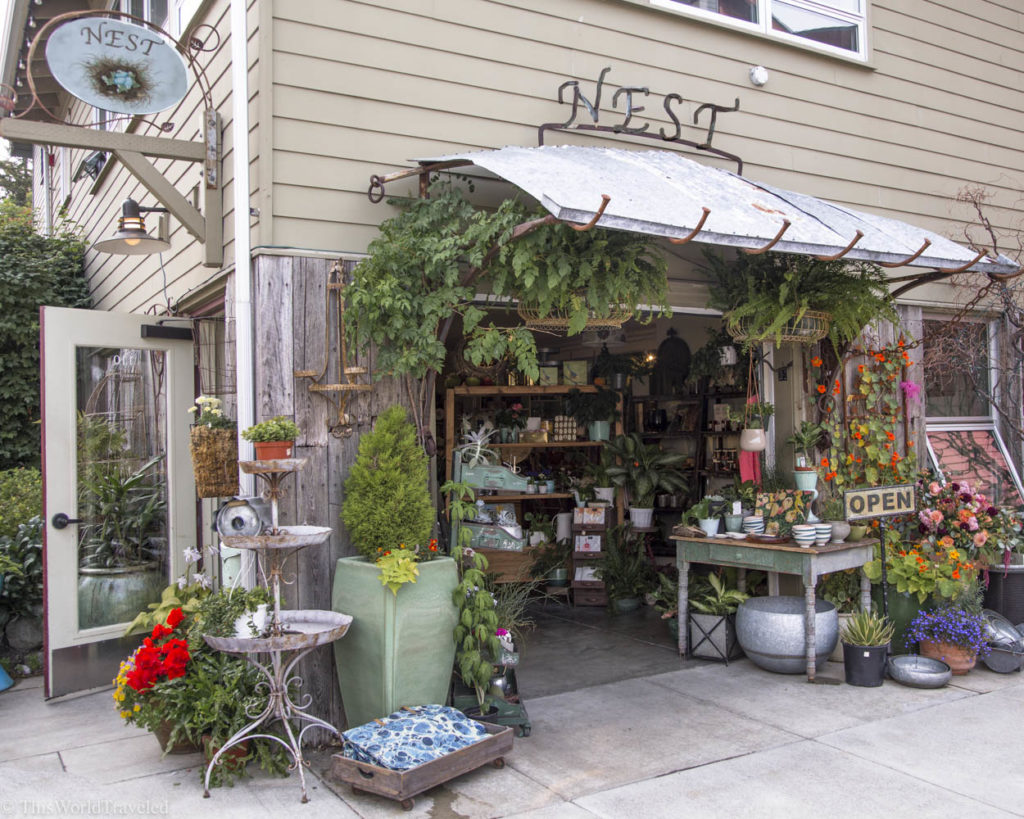 All the greenery and candles outside of Nest, a local boutique shop in Eastsound, Orcas Island, Washington, USA
