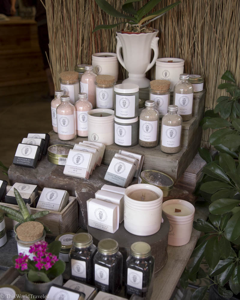 Candles and handmade skincare sold at Nest, a local boutique shop in Eastsound, Orcas Island, Washington, USA