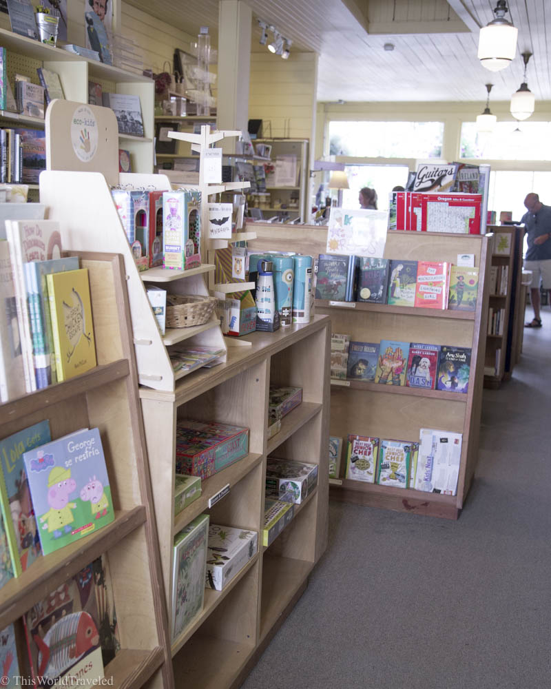 There are many books to choose from at Darvill's, a local boutique bookshop in Eastsound, Orcas Island, Washington, USA