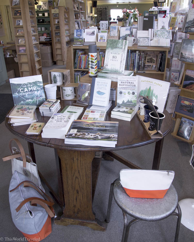 The many displays of books at Darvill's, a local boutique bookshop in Eastsound, Orcas Island, Washington, USA
