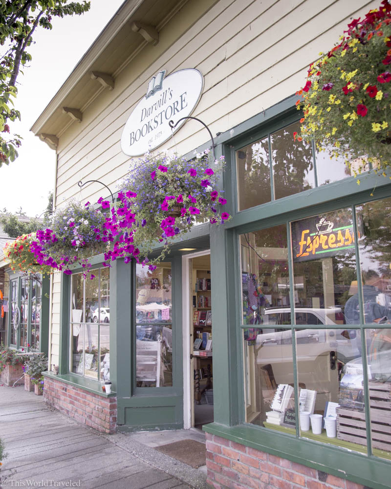 The exterior of Darvill's, a local boutique bookshop in Eastsound, Orcas Island, Washington, USA