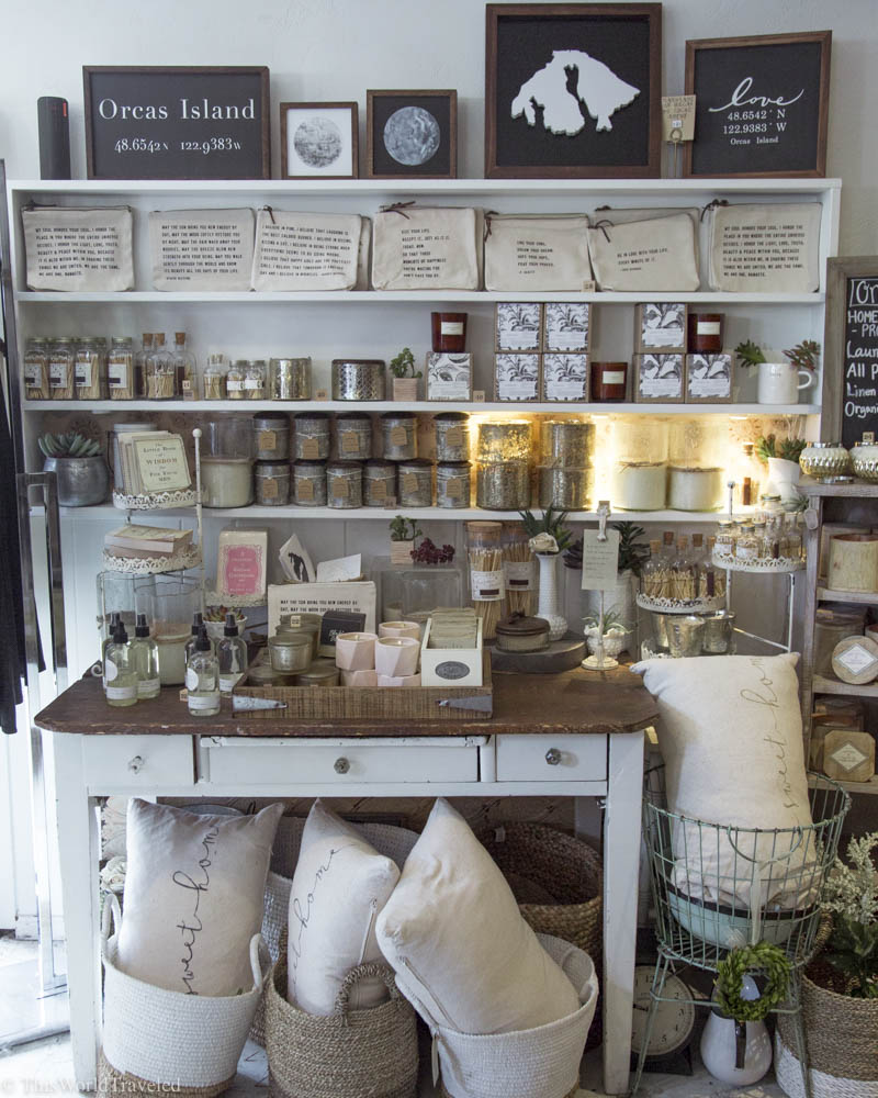 Pillows, signs, candles and other cute souvenirs at Atelier's, a local boutique shop in Eastsound, Orcas Island, Washington, USA