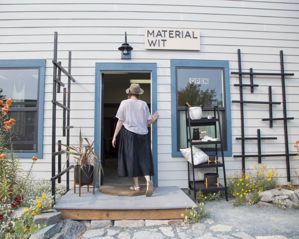 The exterior of Material Wit, a local boutique shop in Eastsound, Orcas Island, Washington, USA
