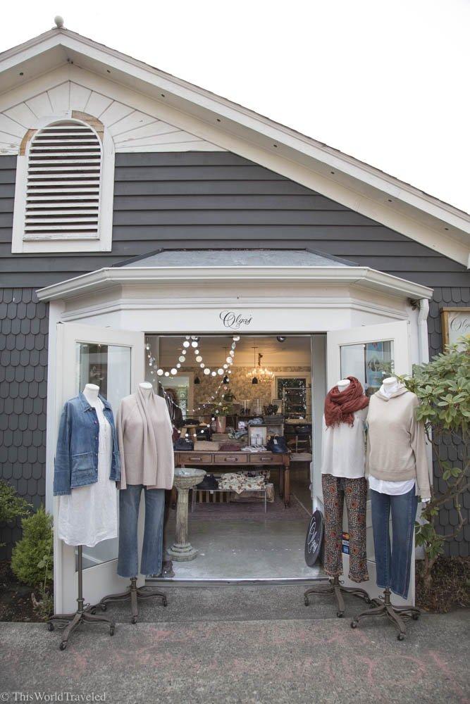 Cute clothes outside Olga's, a local boutique shop in Eastsound, Orcas Island, Washington, USA
