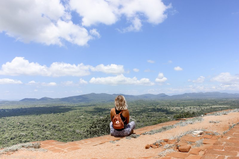 There is a stunning panoramic view from the top of Sigiriya Rock in Sri Lanka