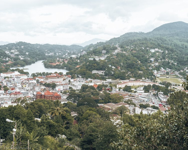 A panoramic view over Kandy from the Bahiravokanda vihara Buddha statue in Sri Lanka