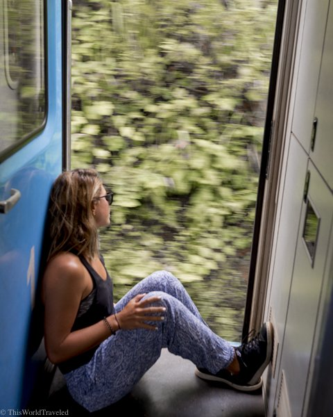 The best seats on the train from Kandy to Ella are right at the door way!