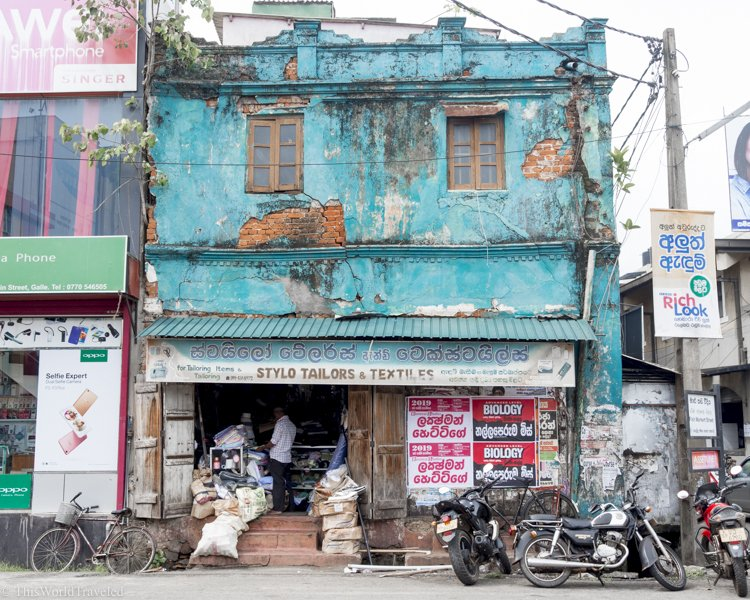 The Style Tailors & Textiles shop with its well-worn turquoise wall can be easily spotted in Galle