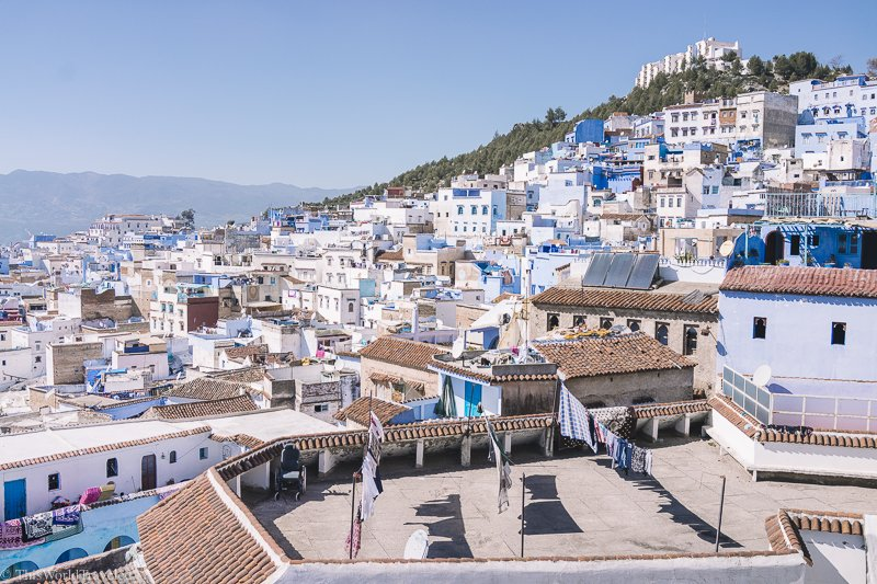 Overlooking the colorful town of Chefchaouen in Morocco's Rif Mountains