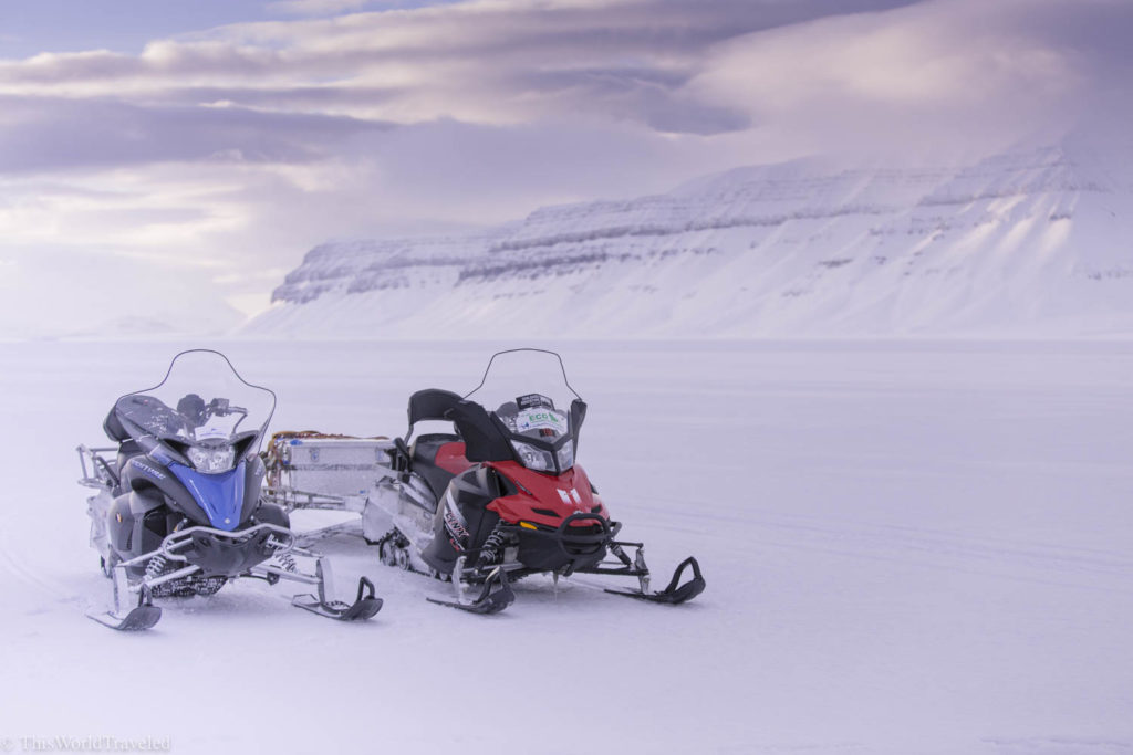 Snowmobiling in Svalbard is a really adventurous activity that you can do in Svalbard and you might even have the opportunity to encounter a polar bear on your trip like I did!