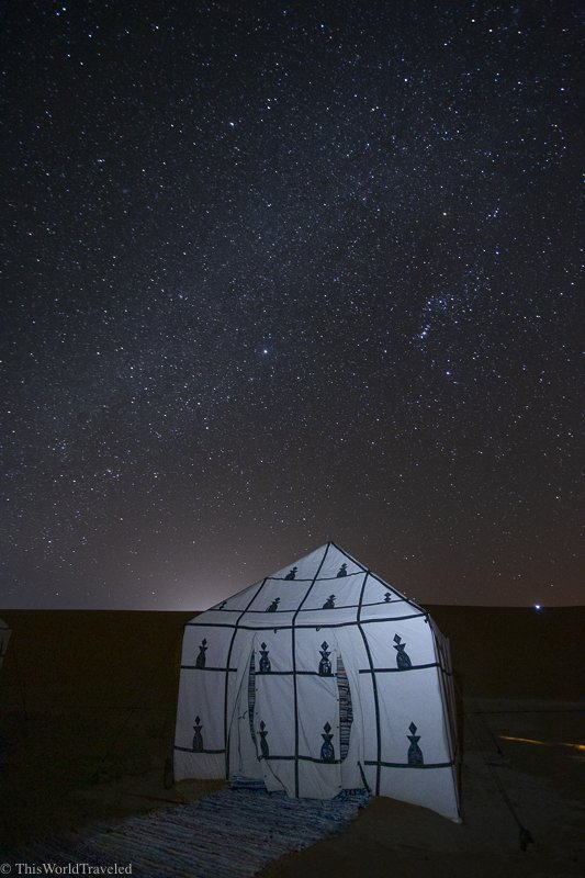 Watching the milky way above our tent in the middle of the Sahara Desert