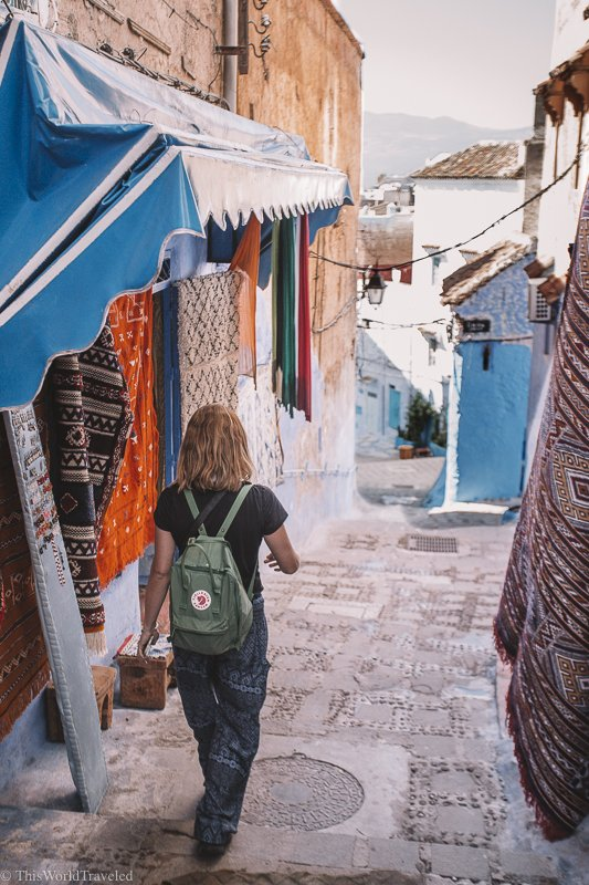 Wear loose fitting clothing and cover your shoulders while in Morocco.
