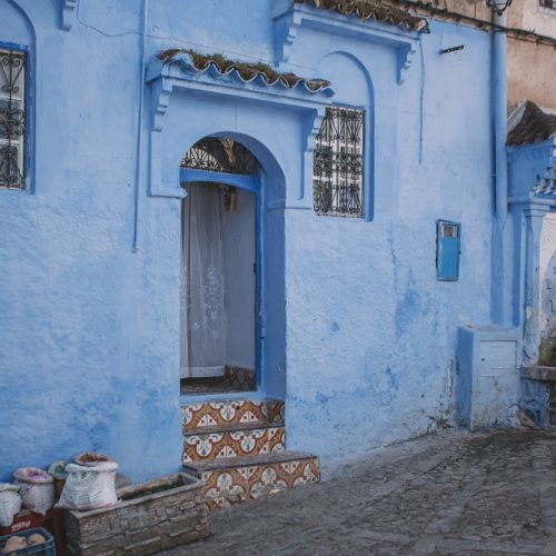 The beautiful shades of blue in the small village of Chefchaouen, Morocco.
