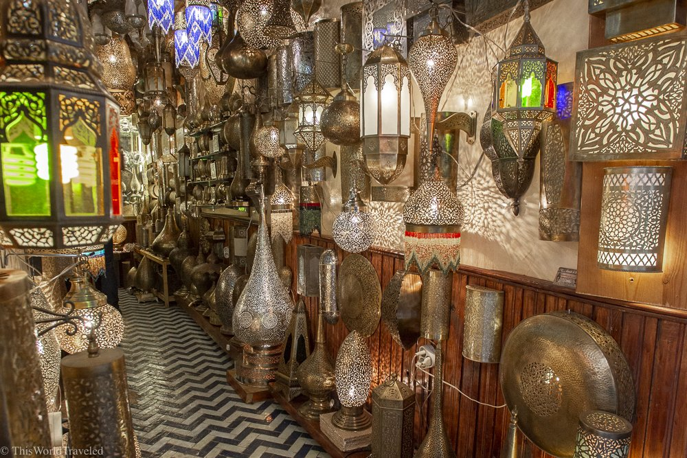 There are so many beautiful handmade lamps to choose from in Fez.