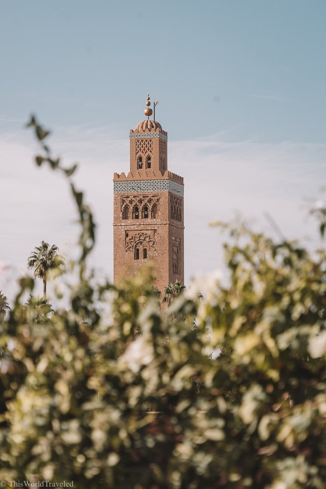 There are beautiful views of the mosque in Marrakesh everywhere you look!