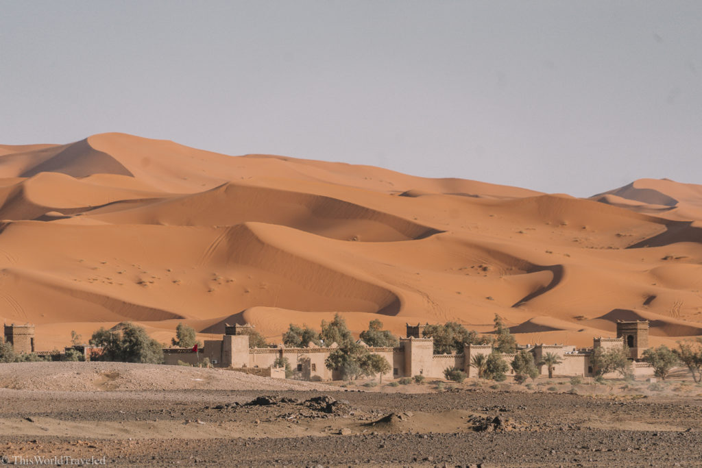 Driving up to the Sahara Desert where you will stay overnight in a desert camp!
