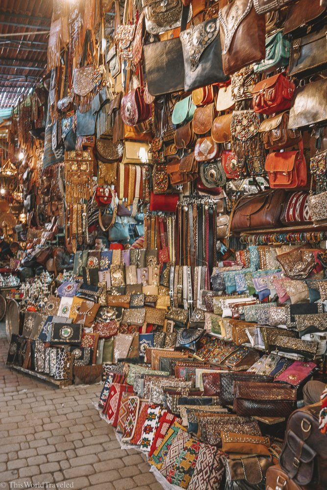 Morocco has a ton of beautiful hand dyed leather goods for sale in all of the markets.