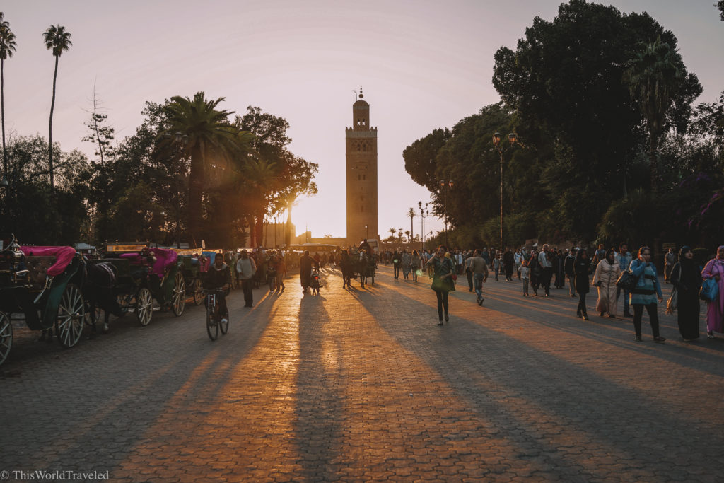 Watching the sunset in the Jemaa el-Fnaa Square in Marrakesh.