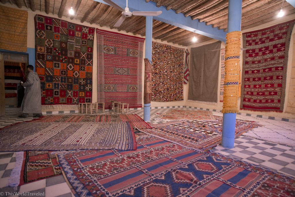 The many rug shops around Morocco where you can buy handwoven rugs for a great price