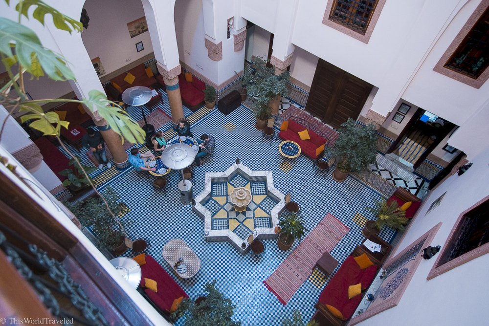 The courtyard in the Riad opens up to the sky