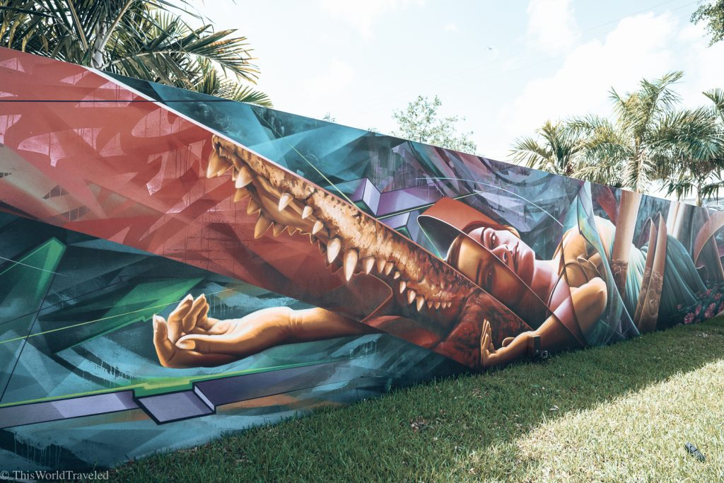 Inside Wynwood Walls in Miami. The street art is full or vibrant colors and talented artists